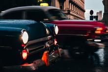 Hood Of Blue Vintage Car With ...