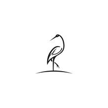 Heron Outline Design Vector Il...