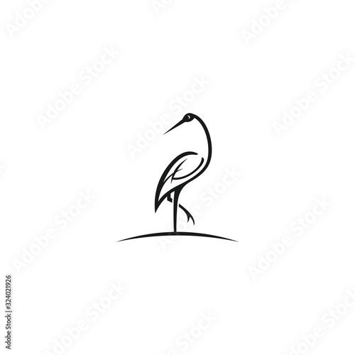 Fotomural Heron outline design vector illustration