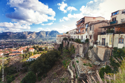 Magical spectacular view to Alcamo town from view point above Canvas Print
