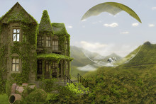 A 3D Ilustration Of A Fantasy World With An Old House Filled In Vegetation In Dreamy Green Landscape With A White Horse.