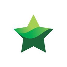 Green Star Leaf Nature Color Logo Design