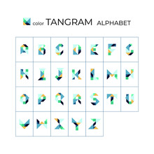 Vector Tangram Alphabet. 26 Co...