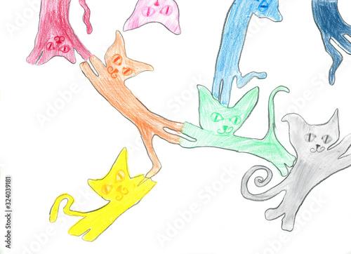 Fototapeta Kolorowe koty, szkic ołówkiem, rysunek dziecka obraz
