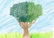 Rysunek dziecka, drzewo rysowane kredką
