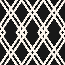 Abstract Geometric Seamless Pattern. Black And White Vector Background. Simple Ornament With Rhombuses, Diamond Shapes, Grid. Elegant Monochrome Graphic Texture. Dark Repeat Design For Decor, Fabric