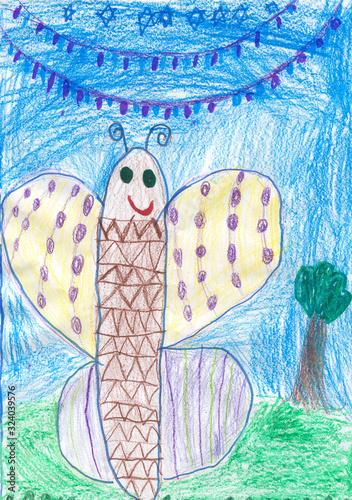 Fototapeta Rysunek dziecka kolorowy motyl obraz