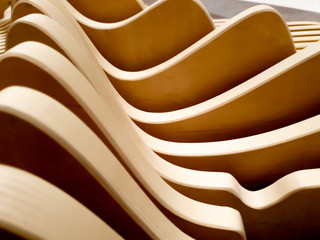 Abstract curved wooden architectural or geometric shapes