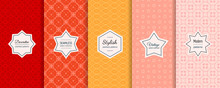 Vector Geometric Seamless Patterns Collection. Set Of Simple Abstract Colorful Background Swatches With Elegant Minimal Labels. Cute Modern Ornamental Textures. Red, Orange, Yellow, Coral, Pink Color