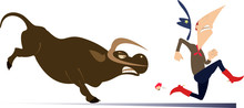 Farmer Or Cowboy And Angry Bull Illustration. Frightened Farmer Or Cowboy Runs Away From The Angry Bull Isolated On White
