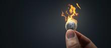 Burning Euro Coin Panorama