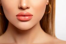 Beautiful Lips Close-up. Makeu...