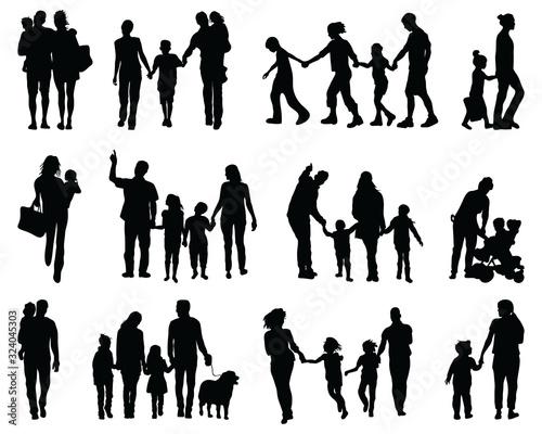 Fototapeta Black silhouettes of families in walking on a white background obraz