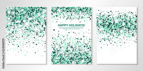 Cuadros en Lienzo Banners set with emerald confetti on white