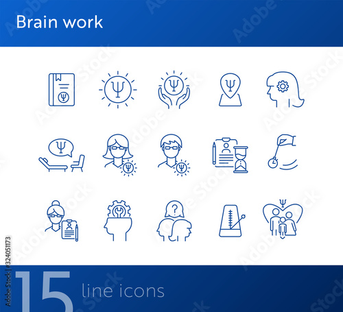 Fotomural Brain work line icon set