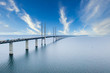 canvas print picture - Aerial view of the bridge between Denmark and Sweden, Oresundsbron during bright sunny day.