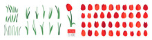 Vector Set Of Floral Elements Isolated On White Background. Red Tulip Flowers, Green Leaves, Branches, Stalks. Clip Art For Bright Festive Greeting Card, Poster, Banner. Spring Design. Womens Day