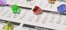 Viele Bunte Haus-Pinnadeln Auf Kalender