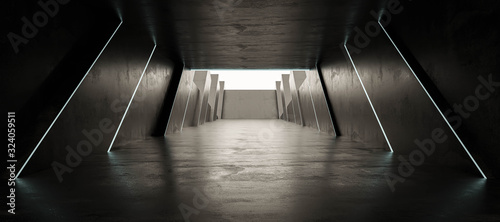 Fototapeta modern dark futuristic hall grunge industrial background with minimal lighting 3d render illustration obraz