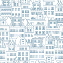Seamless Pattern With Colored European Houses .Vector Pattern.