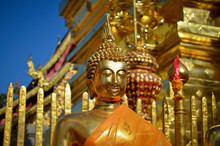 Close Up Of Golden Buddha Statue Outside Temple, Myanmar.