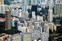 High Angle View Of Cityscape With Tall Skyscrapers.,Singapore