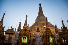 Exterior View Of Buddhist Pagoda With Gilded Stupa.,Yangon