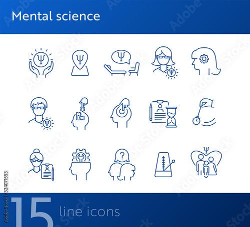 Mental science line icon set Tablou Canvas