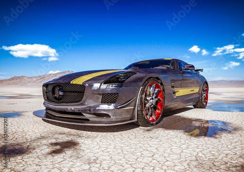 bez-brudu-samochod-sportowy-marki-na-pustyni