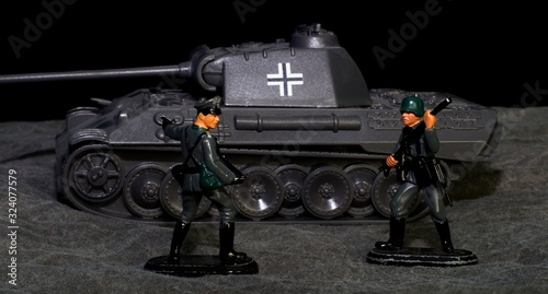 World War 2 German toy soldiers and a tank