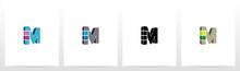 Rectangle Block On Letter Logo Design M