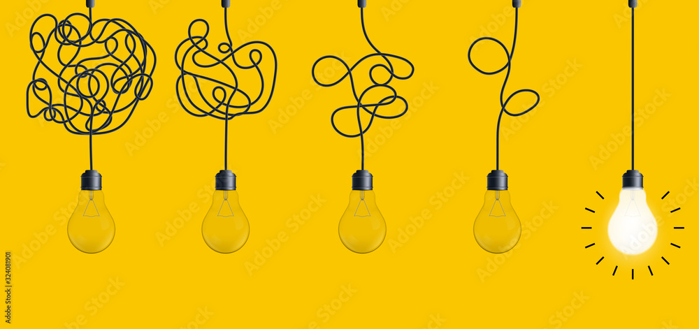 Fototapeta Creative vector illustration of simplifying complex process lightbulb on background. Art design untangled of problem, confusion clarity, path vector idea concept. Abstract straight, curve streamlining