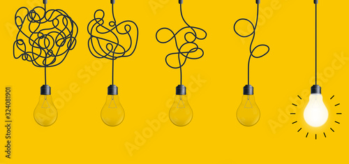 Canvastavla Creative vector illustration of simplifying complex process lightbulb on background