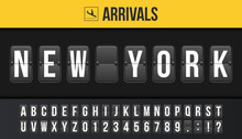Creative Vector Illustration Of New York Airport Departure Destination, Arrivals Board, Flip Scoreboard Background. Art Design Analog Airport Timetable Arrivals, Departure Sign Template Concept.