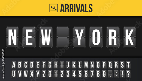 Creative vector illustration of New York airport departure destination, arrivals board, flip scoreboard background Canvas Print