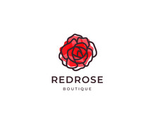Red Rose Vector Logo Template