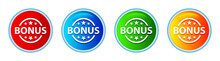 Bonus Badge Icon Glassy Round Button Set Illustration