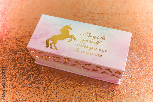 Fotomural Always be yourself unless you can be a unicorn pink baby shower gift table box