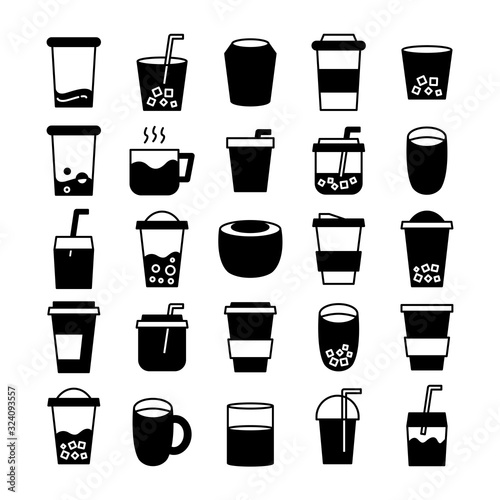 beverage cup, tea and coffee icons set Canvas Print