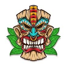Tiki Mask Vector Logo Illustration