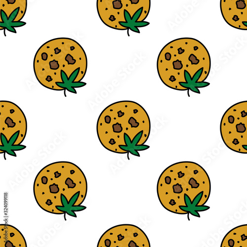 Vászonkép marijuana cookie seamless doodle pattern, vector illustration
