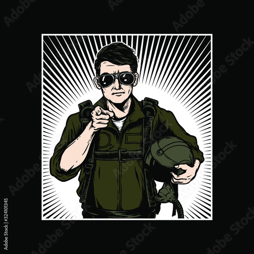 Vector illustration of aviator wear sunglasses and bring helmet Canvas Print