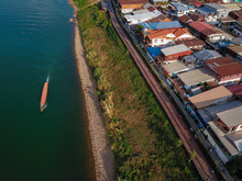 Aerial View Of Chiang Khan City And Mekong River