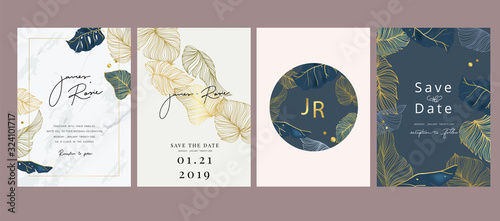 Wedding luxury set Invitation, floral invite thank you, rsvp modern card Design Poster Mural XXL
