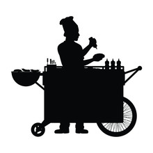 Road Side Merchant With Food Cart Silhouette Vector