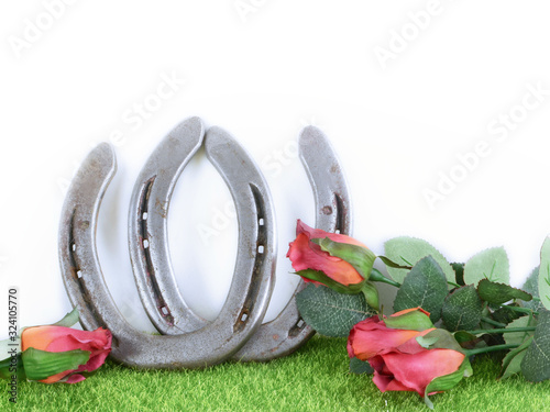 Carta da parati Kentucky derby image of a pair of horseshoes and red roses on green grass with white background