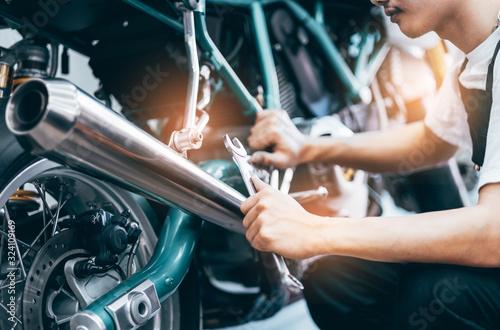 Bike repair Canvas Print