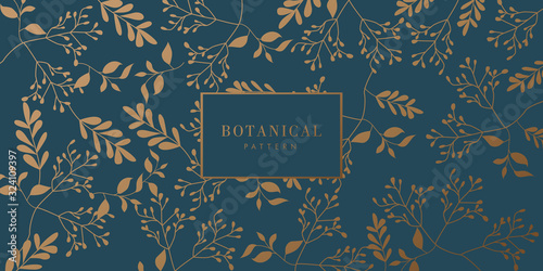 Green and Gold Botanical Background