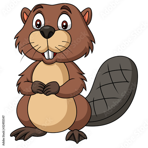 Cartoon happy beaver on white background #324113547