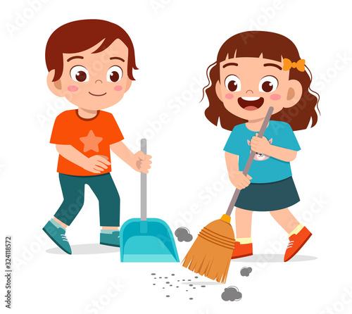 Obraz happy cute little kid boy and girl sweeping floor - fototapety do salonu